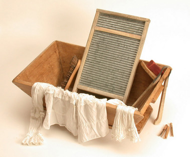 Victorian Washboard and Wooden Tub