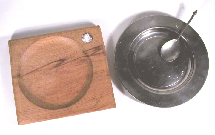 Wooden Trencher & Pewter Plate, Tudor, Replica | Object Lessons ...