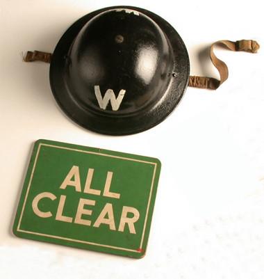 Helmet & All Clear Sign, World War II, Original   Object Lessons ...
