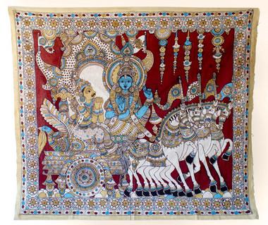 Kalamkari Painting, Krishna & Arjuna, India | Object Lessons